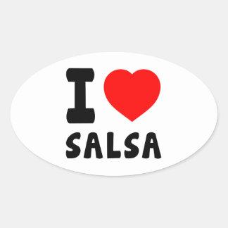 I Love Salsa Oval Sticker