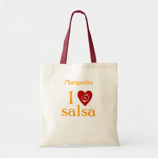 I Love Salsa Swirl Heart Latin Dancing Custom Budget Tote Bag