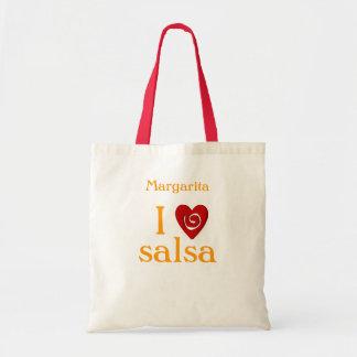 I Love Salsa Swirl Heart Latin Dancing Custom Canvas Bags