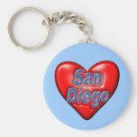 I Love San Diego Basic Round Button Key Ring