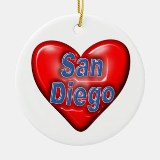 I Love San Diego Double-Sided Ceramic Round Christmas Ornament