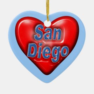 I Love San Diego Double-Sided Heart Ceramic Christmas Ornament