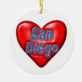 I Love San Diego Round Ceramic Decoration