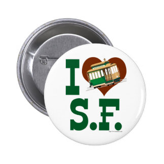 I love San Francisco Cable Cars 6 Cm Round Badge