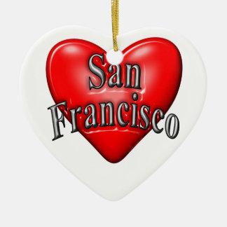 I Love San Francisco Ceramic Heart Decoration