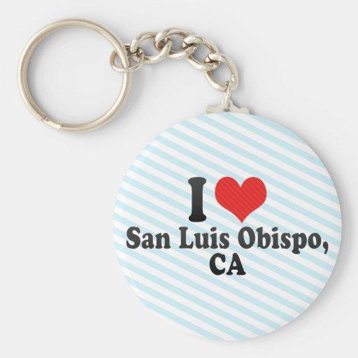 I Love San Luis Obispo,+CA Basic Round Button Key Ring
