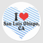 I Love San Luis Obispo,+CA Round Stickers