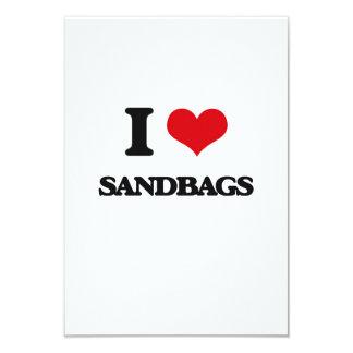 I Love Sandbags 3.5x5 Paper Invitation Card