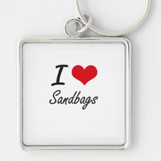 I Love Sandbags Silver-Colored Square Key Ring