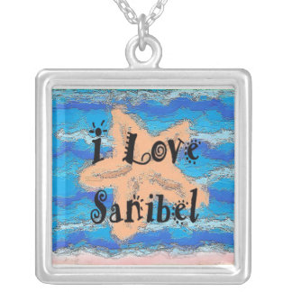 I Love Sanibel -  Silver Plated Pendant Necklace