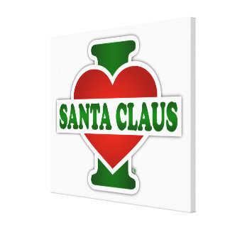 I Love Santa Claus Stretched Canvas Print