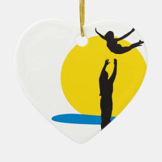 I Love Santa Monica Original Muscle Beach Ceramic Heart Decoration