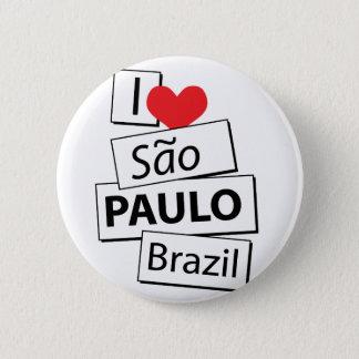 I Love Sao Paulo Brazil 6 Cm Round Badge
