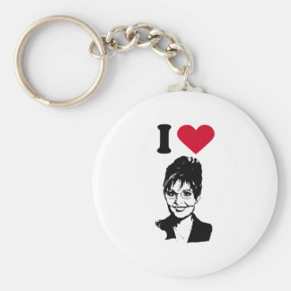 I Love Sarah Palin / I Heart Sarah Palin Basic Round Button Key Ring