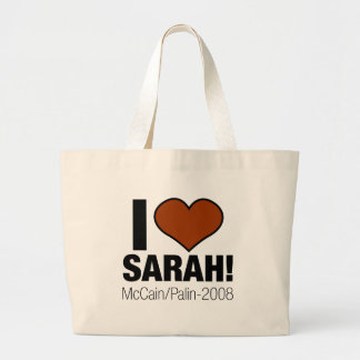 I LOVE SARAH PALIN LARGE TOTE BAG
