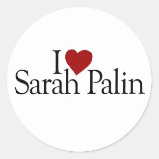 I Love Sarah Palin (McCain Palin 2008) Round Sticker