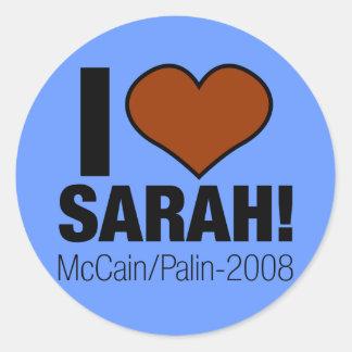 I LOVE SARAH PALIN! ROUND STICKER