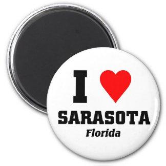 I love Sarasota, Florida 6 Cm Round Magnet