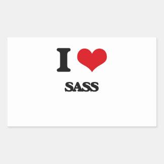 I Love Sass Rectangular Sticker