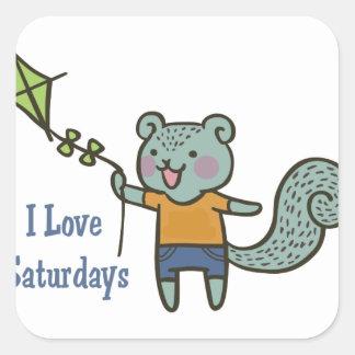 I Love Saturdays Square Sticker