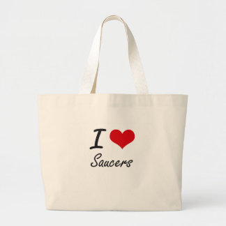 I Love Saucers Jumbo Tote Bag