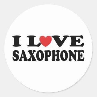 I Love Saxophone Classic Round Sticker