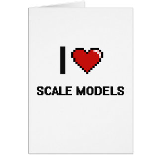 I Love Scale Models Digital Retro Design Greeting Card