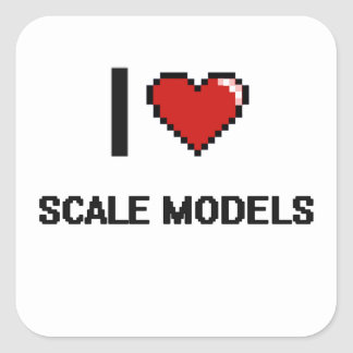 I Love Scale Models Digital Retro Design Square Sticker