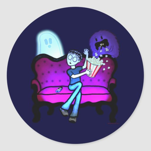 I Love Scary Movies Round Sticker