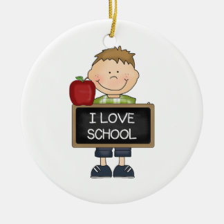 I Love School Boy Student Round Ceramic Decoration