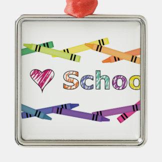 I Love School Silver-Colored Square Decoration