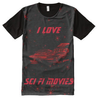 I Love SCI -FI Movies- Red All-Over Print T-Shirt