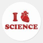 i love science / i heart science / anatomy round stickers