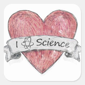 I Love Science Square Sticker