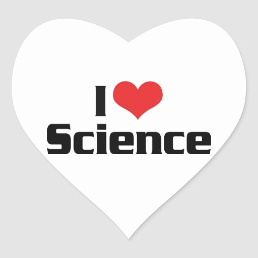 I Love Science Heart Stickers