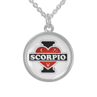 I Love Scorpio Round Pendant Necklace