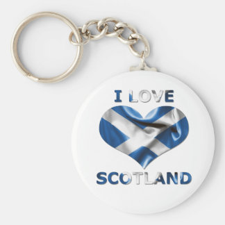 I Love Scotland Heart Flag Basic Round Button Key Ring