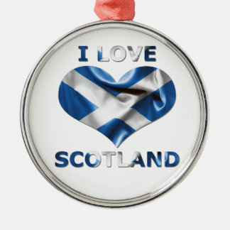 I Love Scotland Heart Flag Silver-Colored Round Decoration