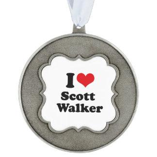 I Love Scott Walker Scalloped Pewter Ornament