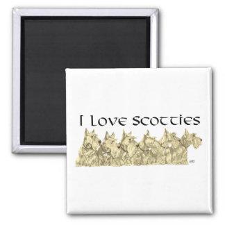 I Love Scotties - Wheaten Scottie Line-up Square Magnet