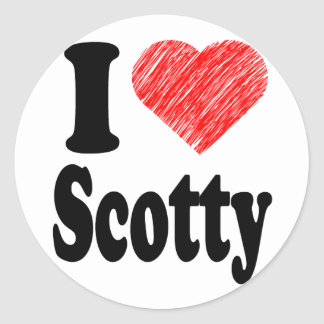 I Love Scotty Heart Art Round Sticker