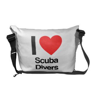 i love scuba divers messenger bags