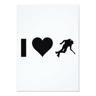 I Love Scuba diving 5x7 Paper Invitation Card