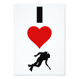 I Love Scuba Diving (Vertical) 13 Cm X 18 Cm Invitation Card