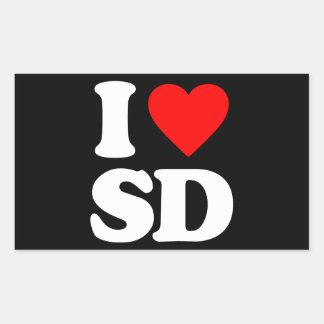 I LOVE SD RECTANGULAR STICKER