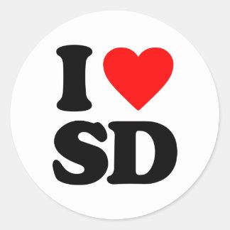 I LOVE SD ROUND STICKER
