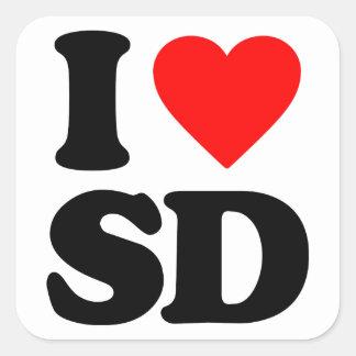 I LOVE SD SQUARE STICKER