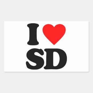 I LOVE SD RECTANGULAR STICKERS