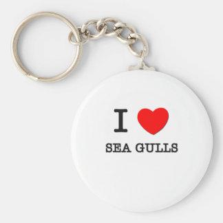 I Love Sea Gulls Basic Round Button Key Ring