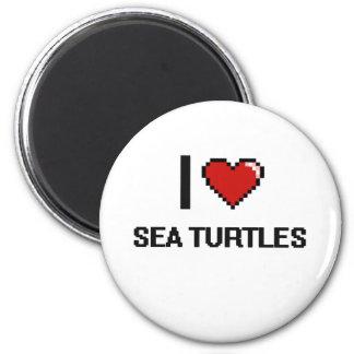 I love Sea Turtles Digital Design 2 Inch Round Magnet
